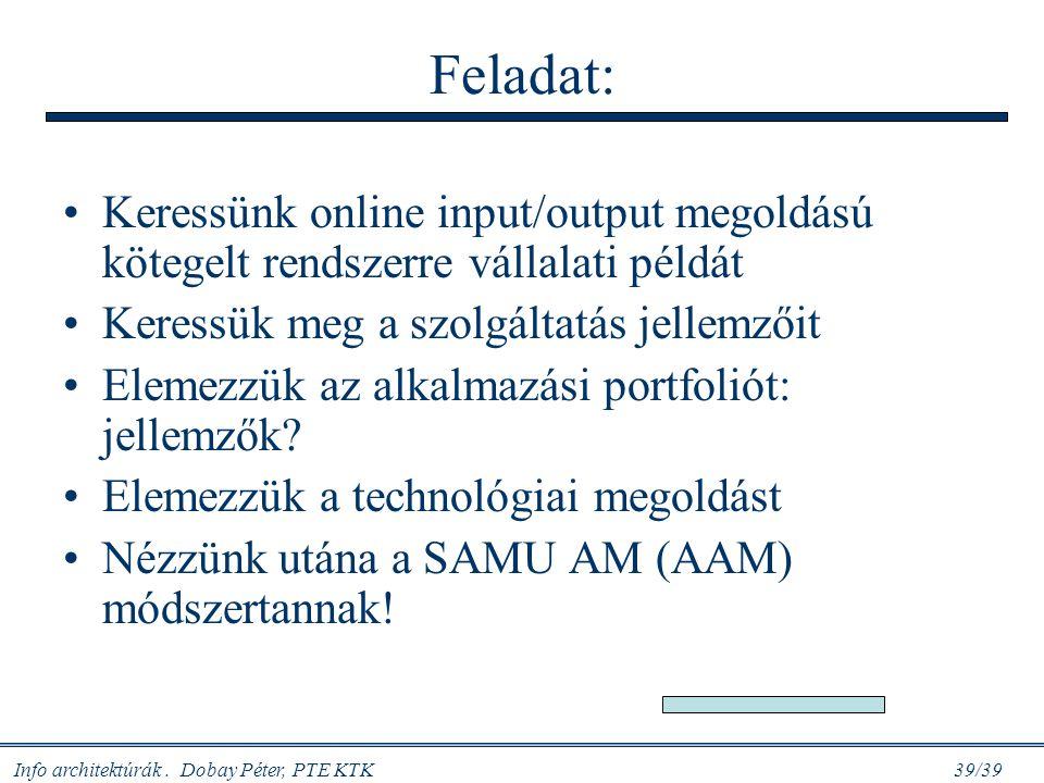 Feladat: Keressünk online input/output megoldású kötegelt rendszerre vállalati példát. Keressük meg a szolgáltatás jellemzőit.