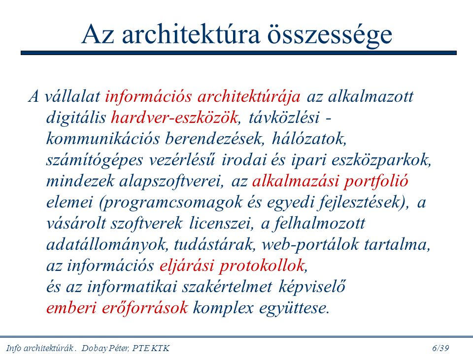 Az architektúra összessége