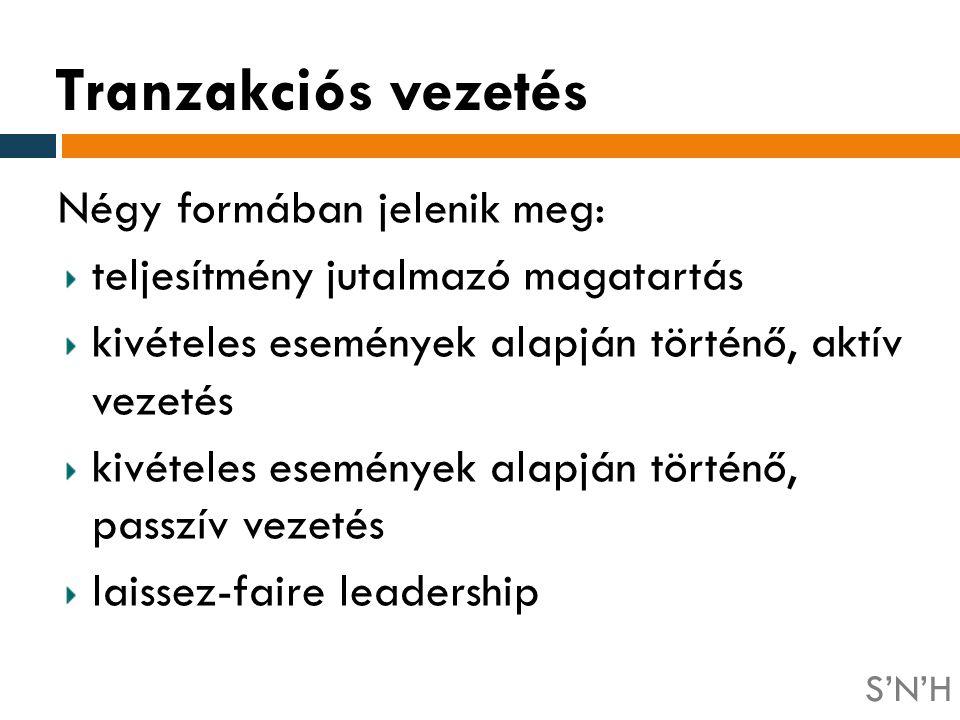 Tranzakciós vezetés Négy formában jelenik meg: