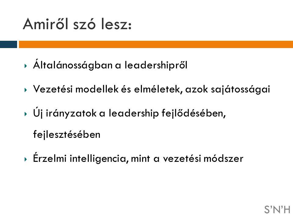 Amiről szó lesz: Általánosságban a leadershipről