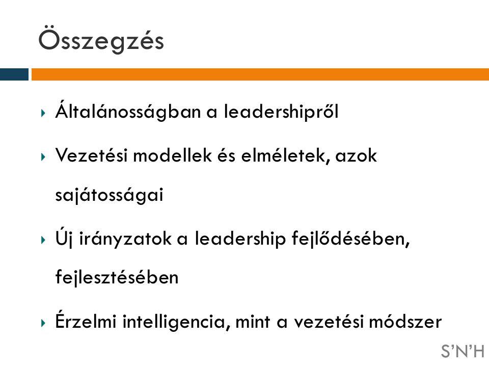 Összegzés Általánosságban a leadershipről