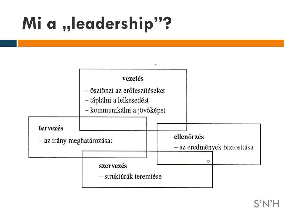 """Mi a """"leadership S'N'H S N H"""