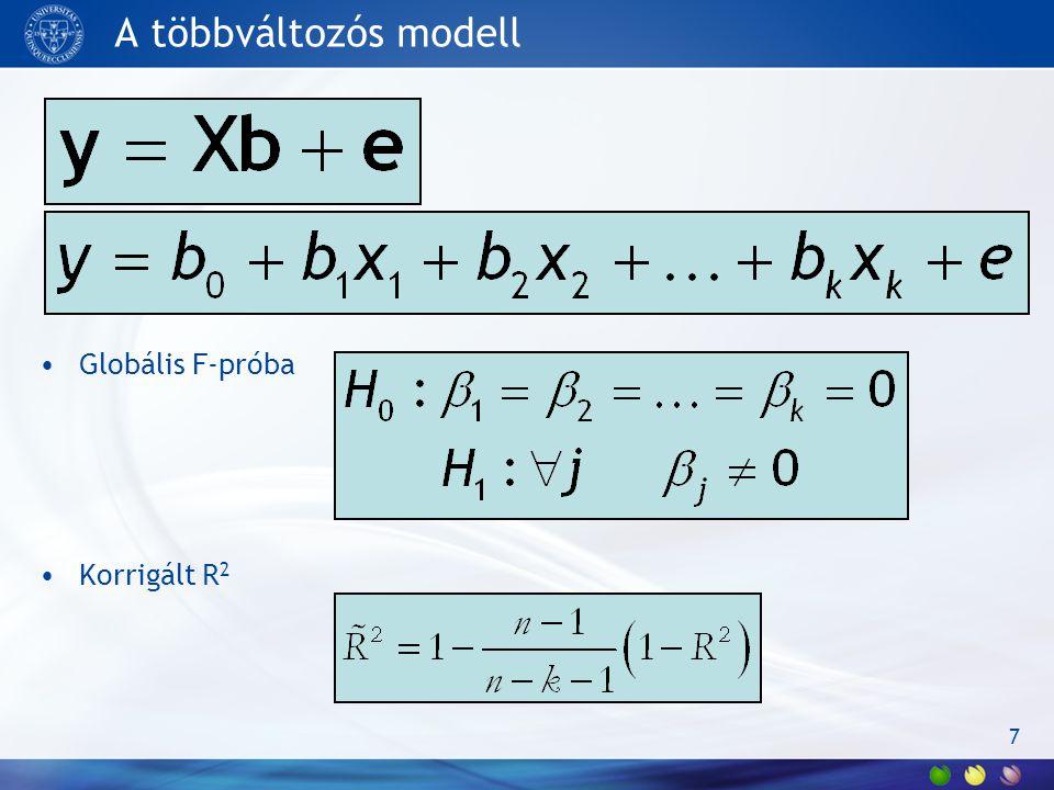 A többváltozós modell Globális F-próba Korrigált R2