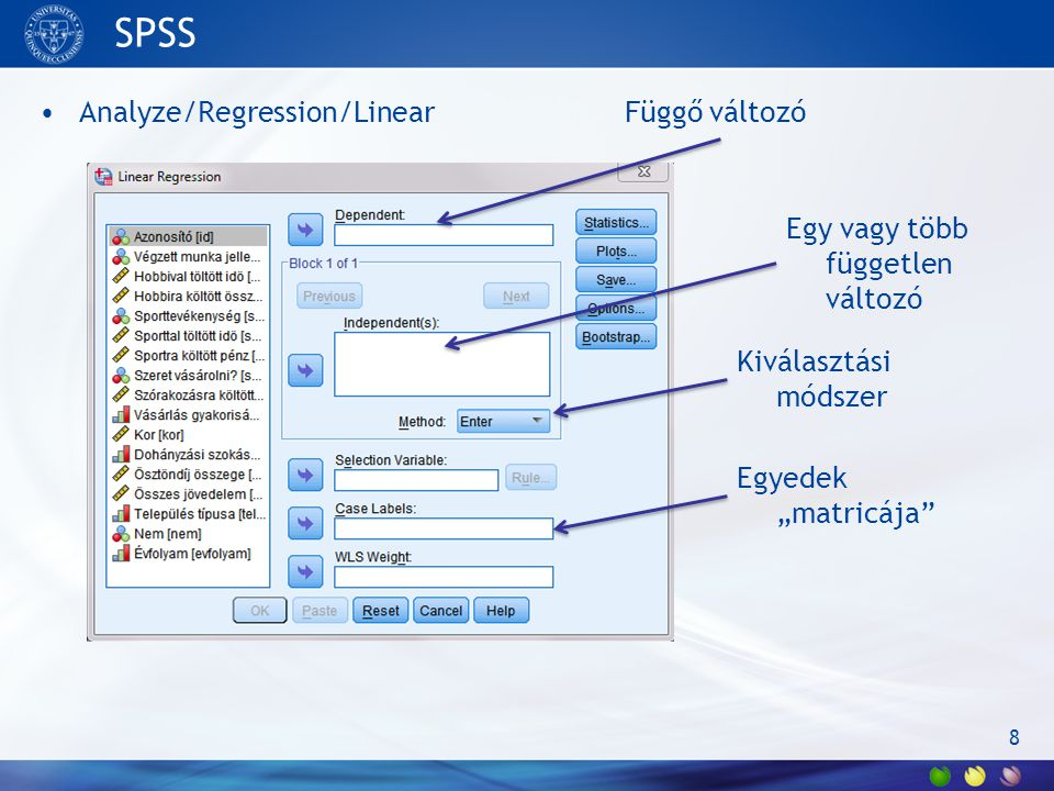 SPSS Analyze/Regression/Linear Függő változó