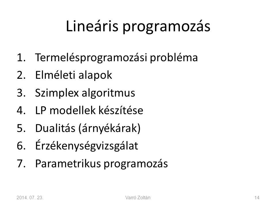 Lineáris programozás Termelésprogramozási probléma Elméleti alapok