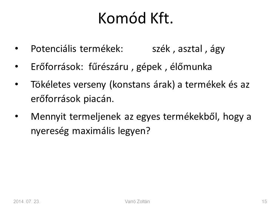 Komód Kft. Potenciális termékek: szék , asztal , ágy