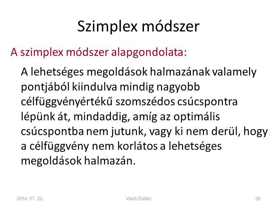 Szimplex módszer A szimplex módszer alapgondolata: