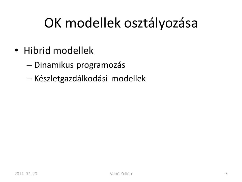 OK modellek osztályozása