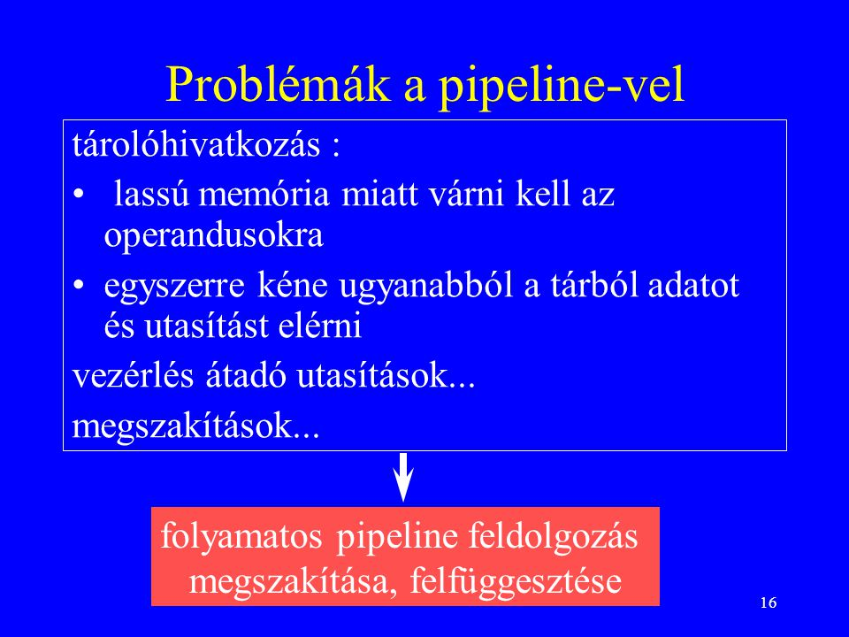 Problémák a pipeline-vel