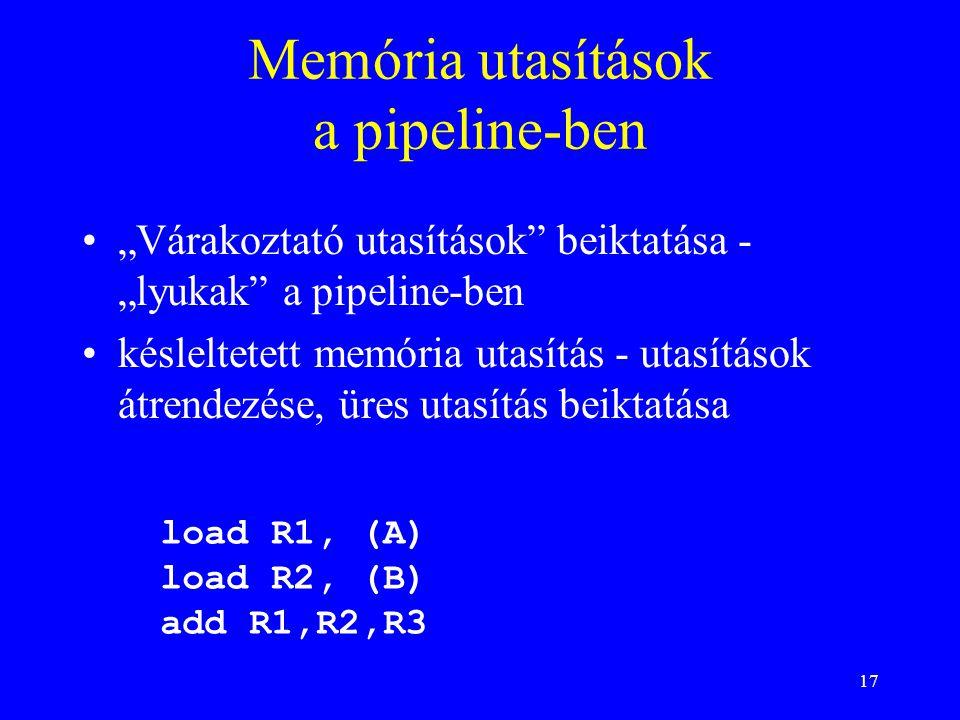 Memória utasítások a pipeline-ben