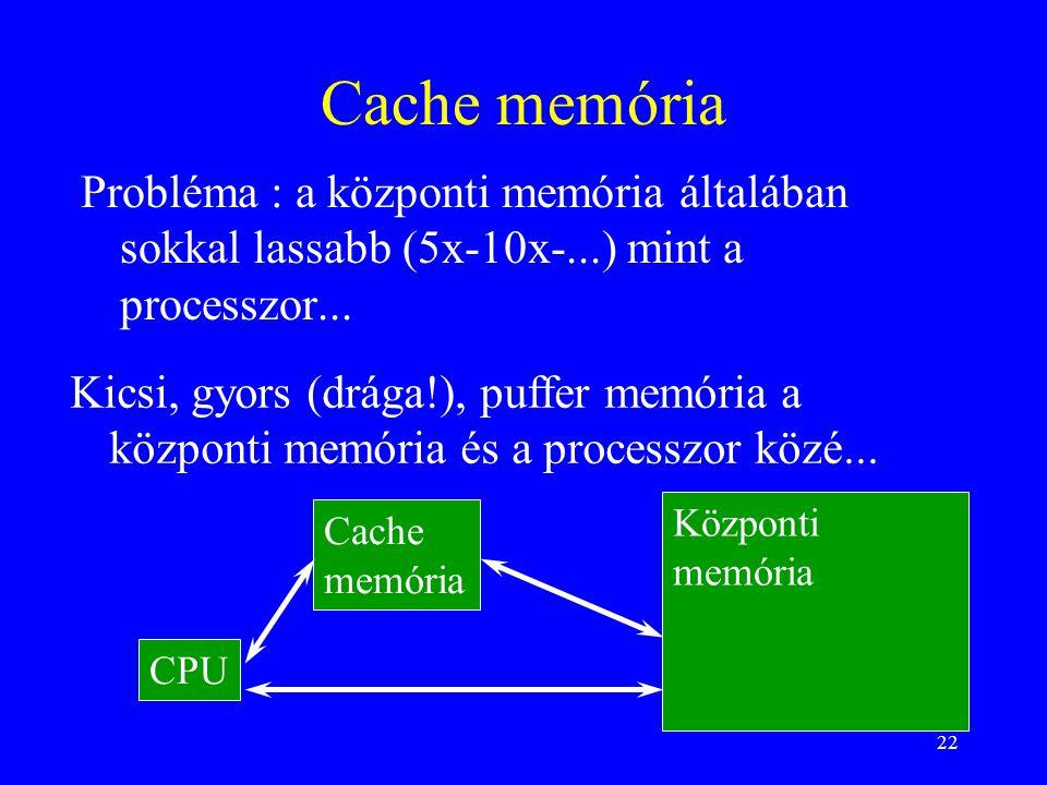 Cache memória Probléma : a központi memória általában sokkal lassabb (5x-10x-...) mint a processzor...