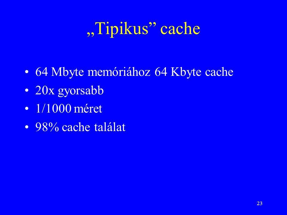 """""""Tipikus cache 64 Mbyte memóriához 64 Kbyte cache 20x gyorsabb"""