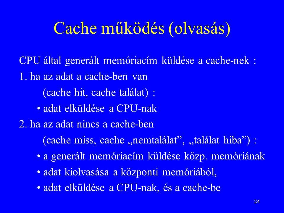 Cache működés (olvasás)