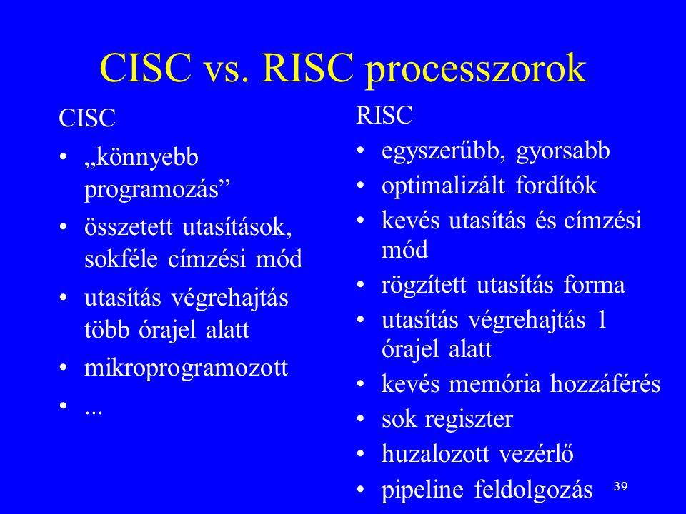 CISC vs. RISC processzorok