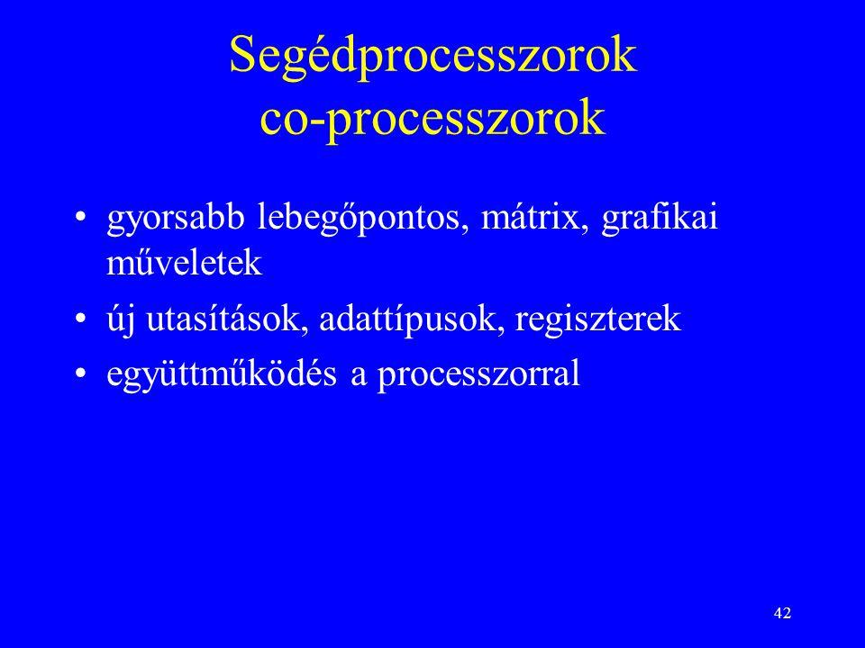 Segédprocesszorok co-processzorok