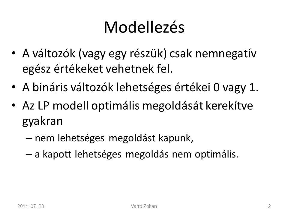 Modellezés A változók (vagy egy részük) csak nemnegatív egész értékeket vehetnek fel. A bináris változók lehetséges értékei 0 vagy 1.