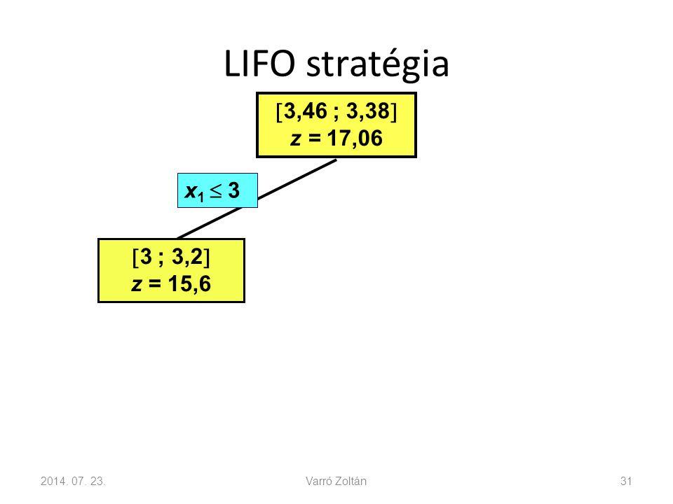 LIFO stratégia 3,46 ; 3,38 z = 17,06 x1  3 3 ; 3,2 z = 15,6