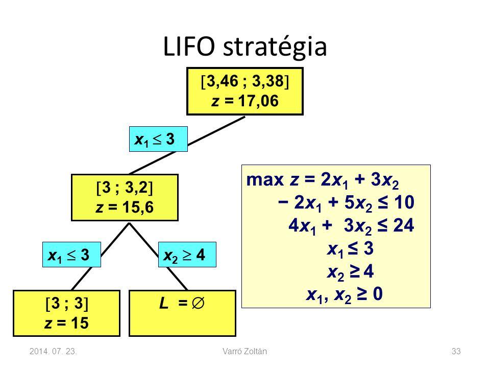 LIFO stratégia max z = 2x1 + 3x2 − 2x1 + 5x2 ≤ 10 4x1 + 3x2 ≤ 24