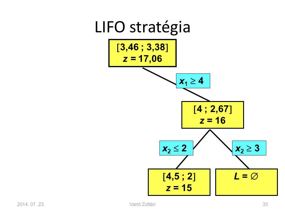 LIFO stratégia 3,46 ; 3,38 z = 17,06 x1  4 4 ; 2,67 z = 16 x2  2