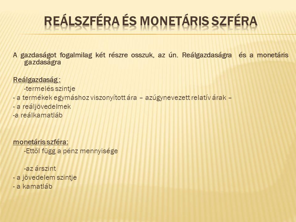 Reálszféra és monetáris szféra