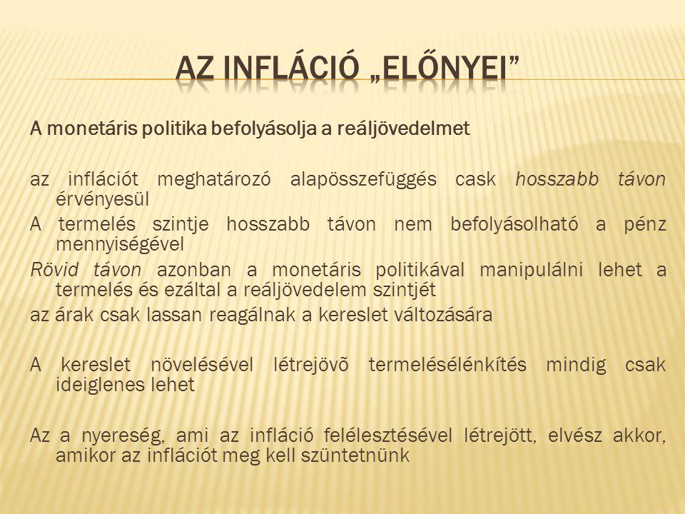 """Az infláció """"előnyei A monetáris politika befolyásolja a reáljövedelmet. az inflációt meghatározó alapösszefüggés cask hosszabb távon érvényesül."""