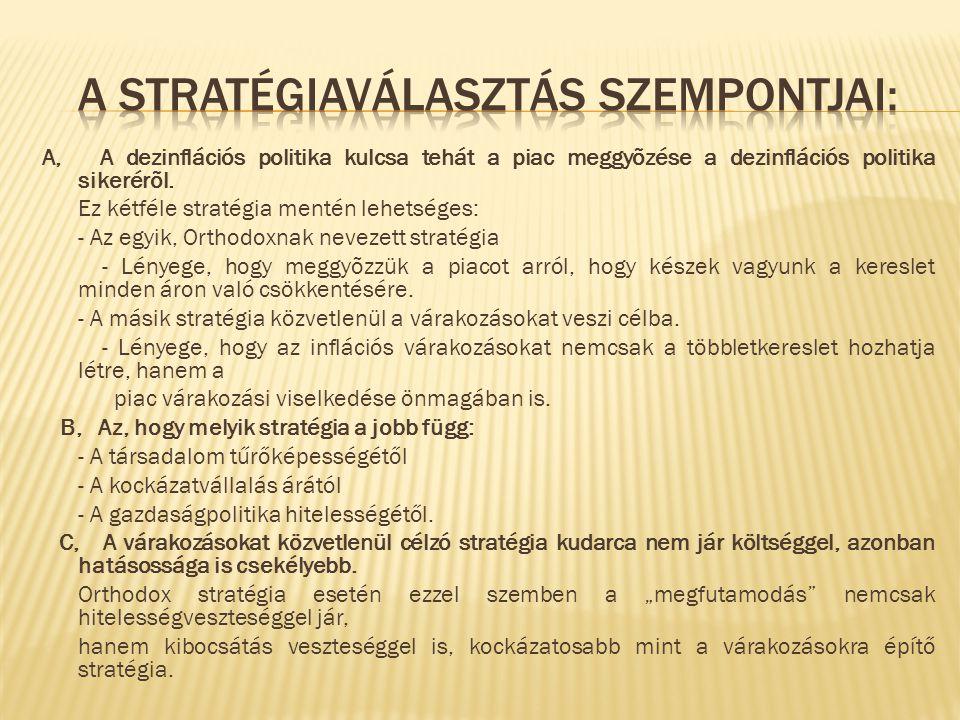 A stratégiaválasztás szempontjai: