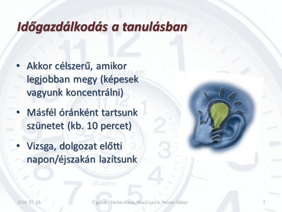 Időgazdálkodás a tanulásban