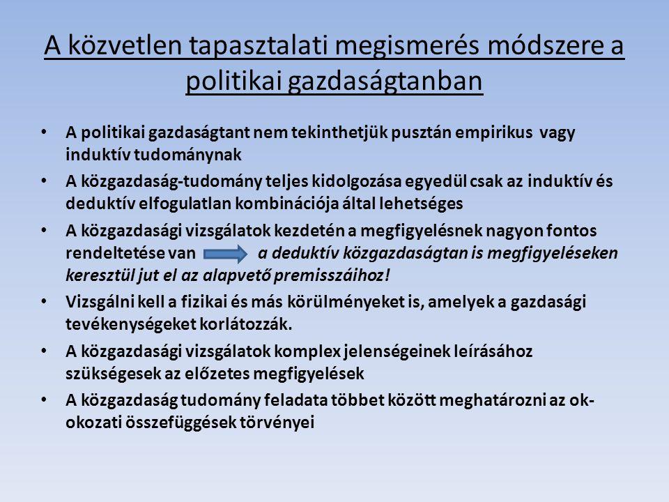 A közvetlen tapasztalati megismerés módszere a politikai gazdaságtanban