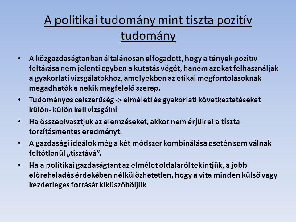 A politikai tudomány mint tiszta pozitív tudomány
