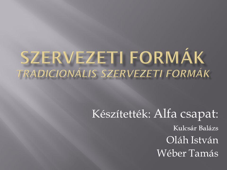 Szervezeti Formák Tradicionális Szervezeti Formák