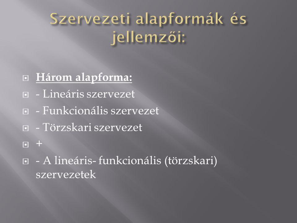 Szervezeti alapformák és jellemzői: