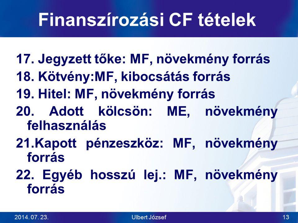 Finanszírozási CF tételek