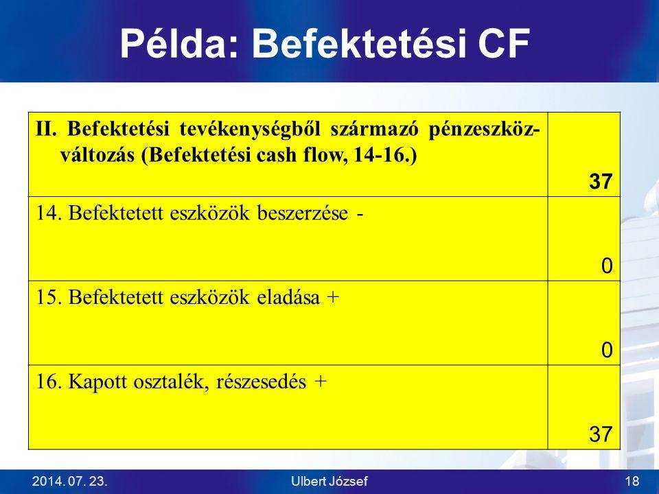 Példa: Befektetési CF II. Befektetési tevékenységből származó pénzeszköz-változás (Befektetési cash flow, 14-16.)
