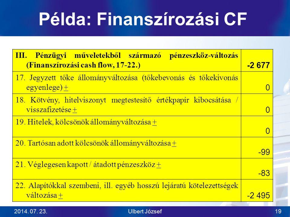 Példa: Finanszírozási CF