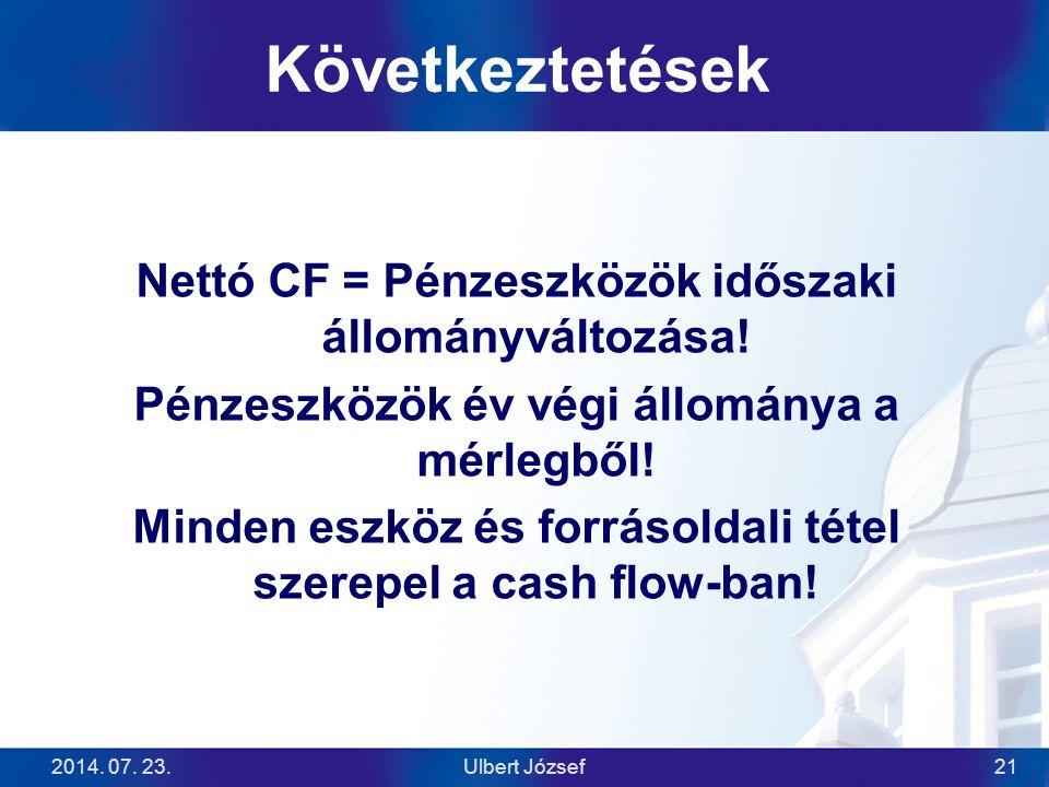 Következtetések Nettó CF = Pénzeszközök időszaki állományváltozása!