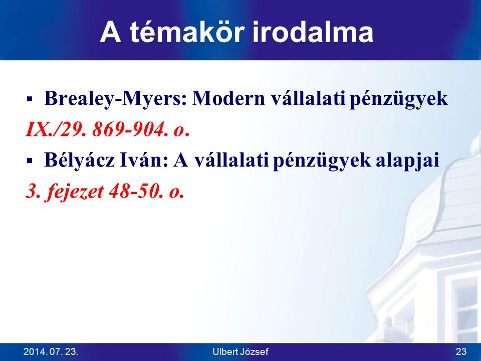 A témakör irodalma Brealey-Myers: Modern vállalati pénzügyek