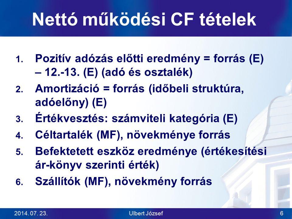 Nettó működési CF tételek