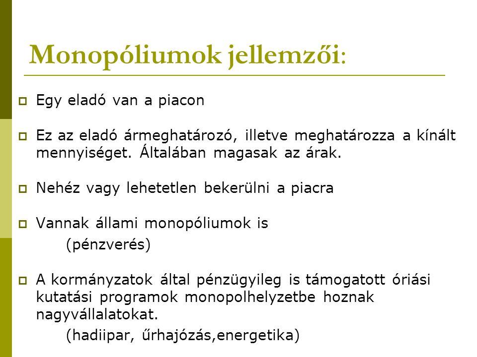 Monopóliumok jellemzői: