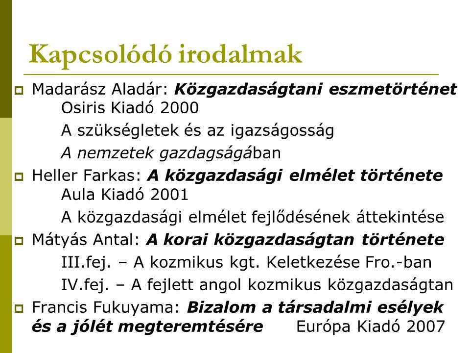 Kapcsolódó irodalmak Madarász Aladár: Közgazdaságtani eszmetörténet Osiris Kiadó 2000. A szükségletek és az igazságosság.