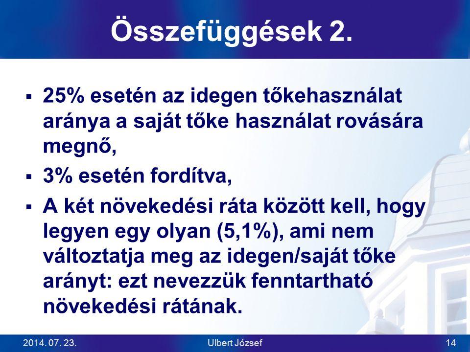 Összefüggések 2. 25% esetén az idegen tőkehasználat aránya a saját tőke használat rovására megnő, 3% esetén fordítva,