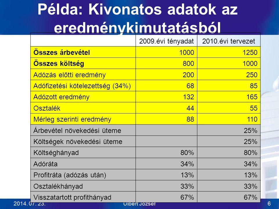 Példa: Kivonatos adatok az eredménykimutatásból