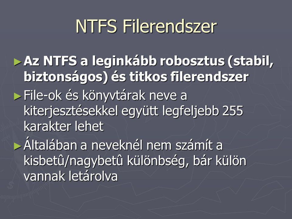 NTFS Filerendszer Az NTFS a leginkább robosztus (stabil, biztonságos) és titkos filerendszer.