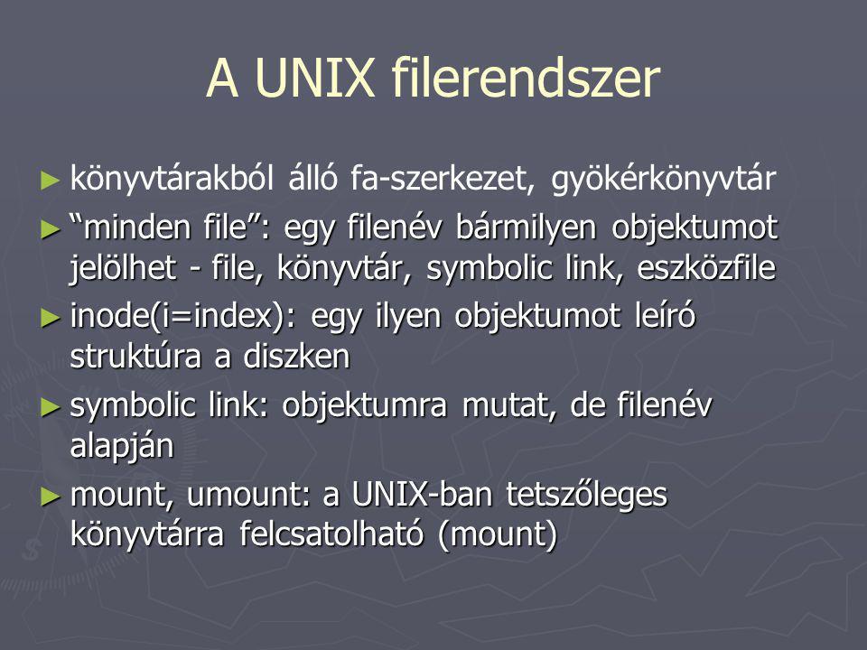 A UNIX filerendszer könyvtárakból álló fa-szerkezet, gyökérkönyvtár