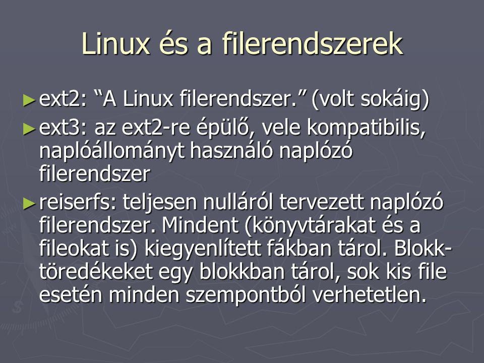 Linux és a filerendszerek