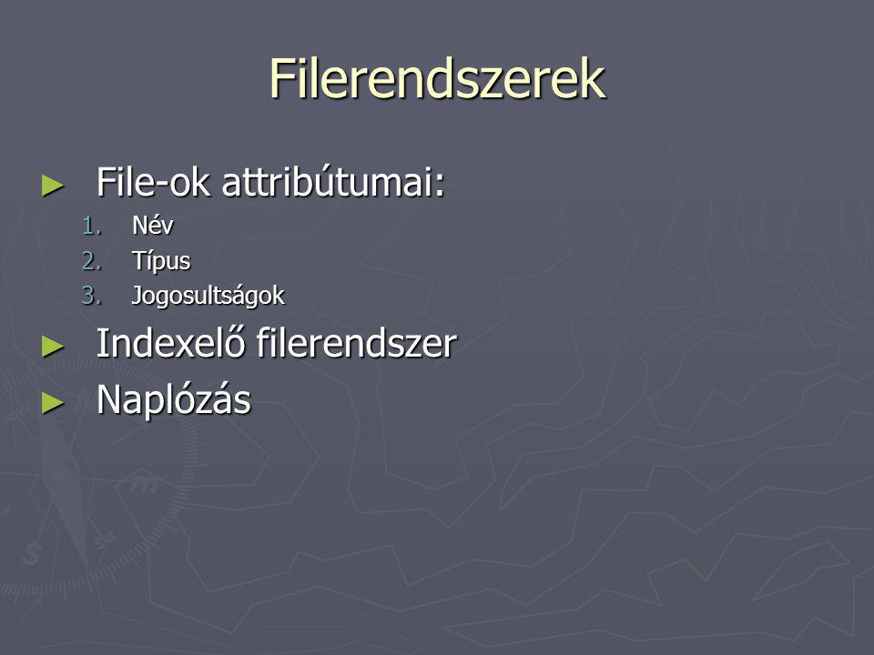 Filerendszerek File-ok attribútumai: Indexelő filerendszer Naplózás