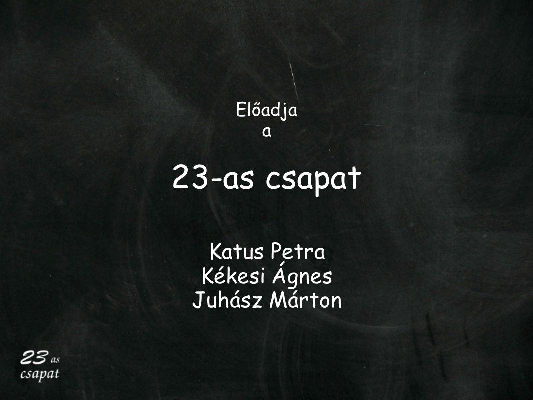 Előadja a 23-as csapat Katus Petra Kékesi Ágnes Juhász Márton