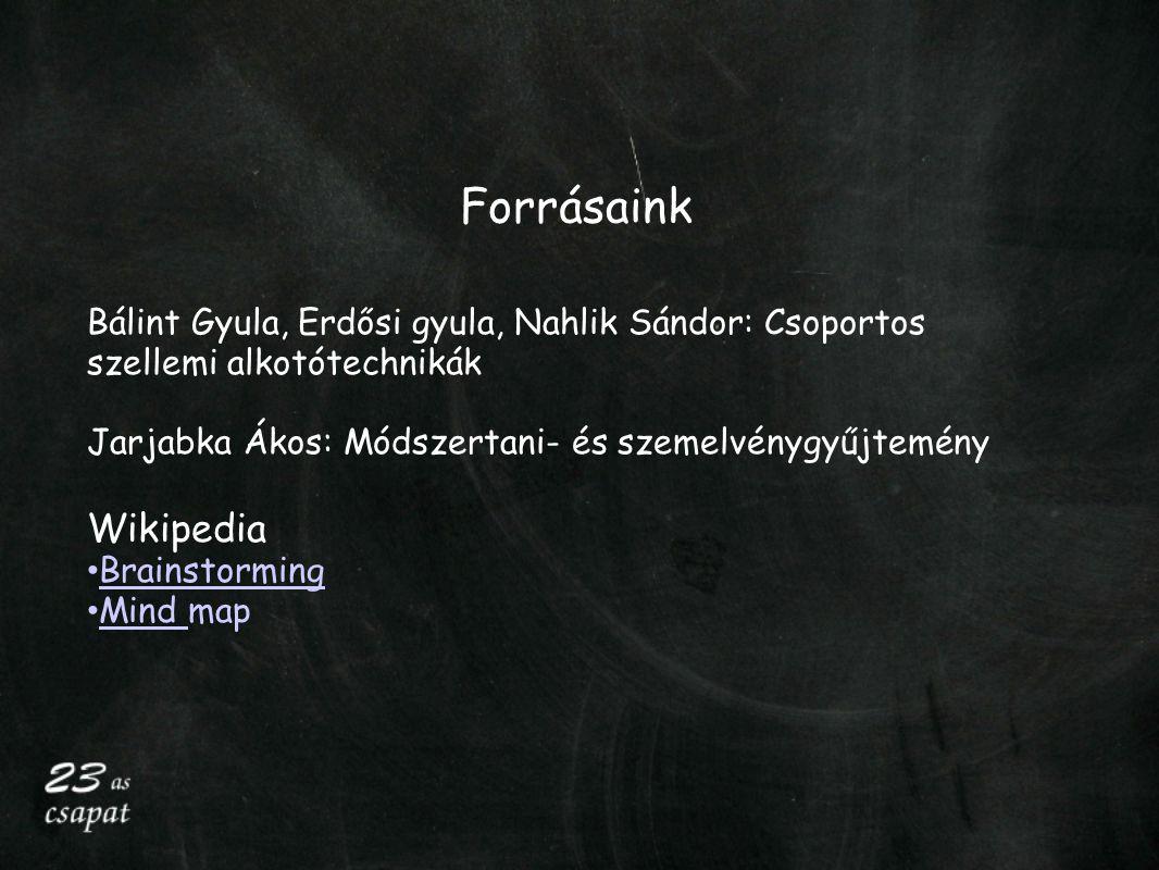 Forrásaink Bálint Gyula, Erdősi gyula, Nahlik Sándor: Csoportos szellemi alkotótechnikák. Jarjabka Ákos: Módszertani- és szemelvénygyűjtemény.