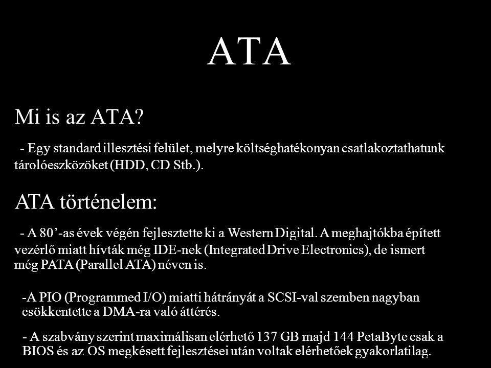 ATA Mi is az ATA - Egy standard illesztési felület, melyre költséghatékonyan csatlakoztathatunk tárolóeszközöket (HDD, CD Stb.).