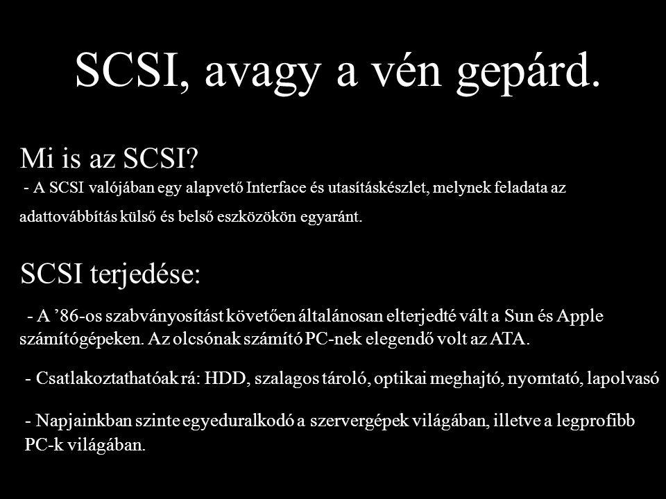SCSI, avagy a vén gepárd. Mi is az SCSI SCSI terjedése: