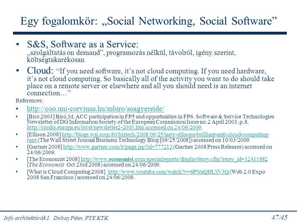 "Egy fogalomkör: ""Social Networking, Social Software"